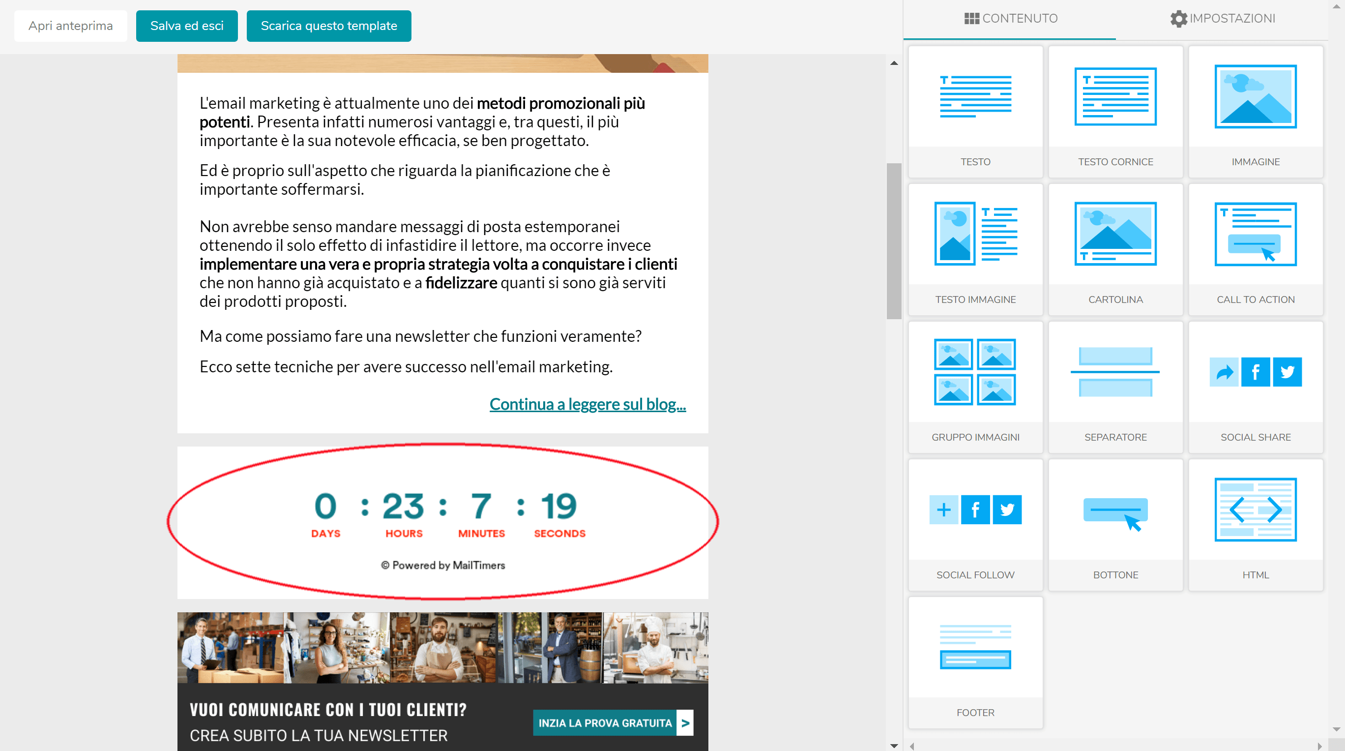 Come inserire un timer countdown in una email 5
