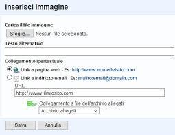 Caricamento immagine editor Infomail