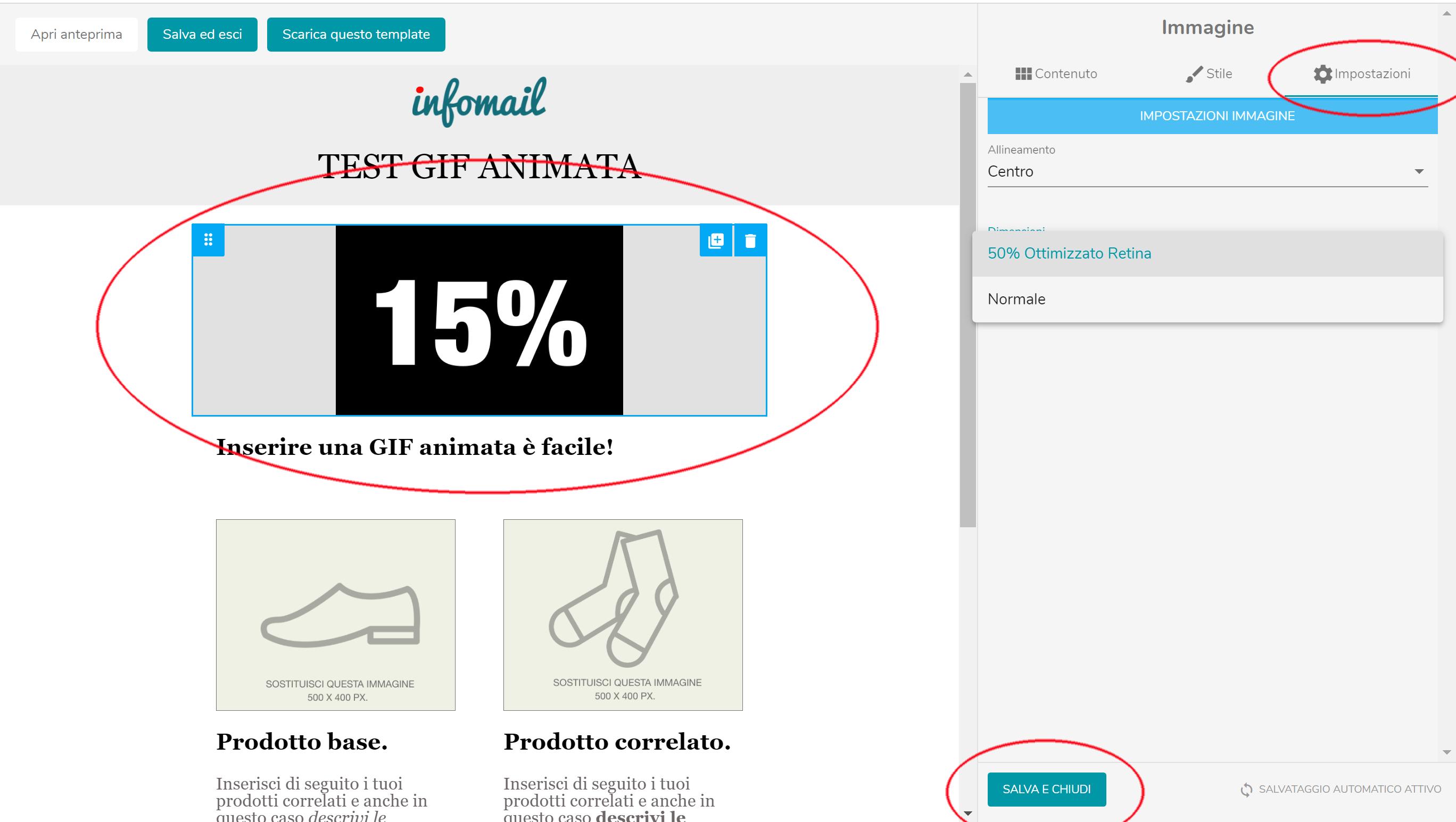 Come inserire una GIF animata nella newsletter nella piattaforma infomail