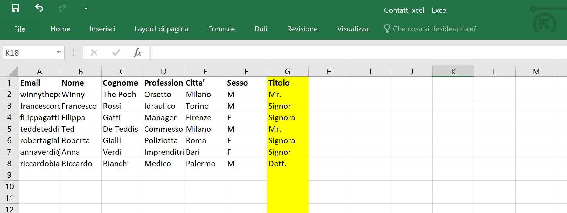 Lista contatti - Titolo