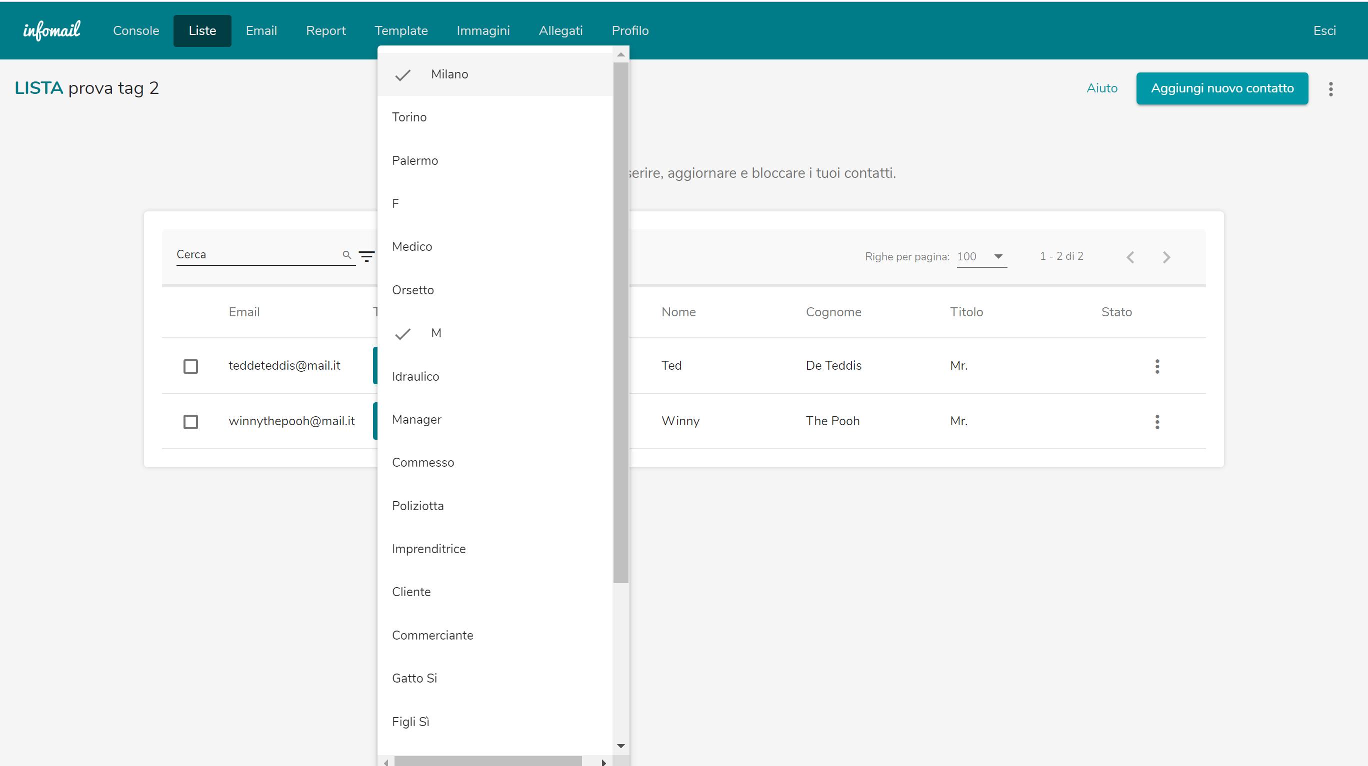 Segmentare la mailing list con Infomail